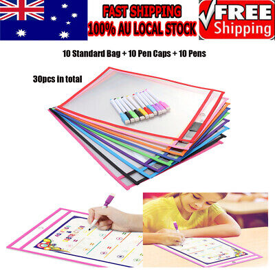 10x Kids Resuable Dry Erase Pocket Sleeves Students Write Wipe Tool Pockets+Pens