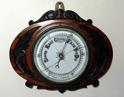 Vintage Carved Oak & Porcelain Dial Aneroid Barometer For Spares & Repairs