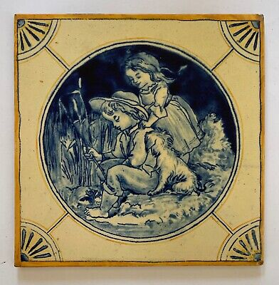 "Rare large 8"" Original Antique WB SIMPSON hand painted Tile C1880"