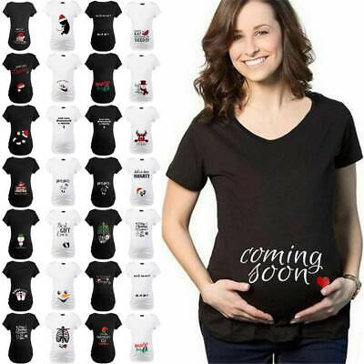 Women Maternity Pregnant Tops Blouse Christmas Short Sleeve Casual Xmas T Shirt