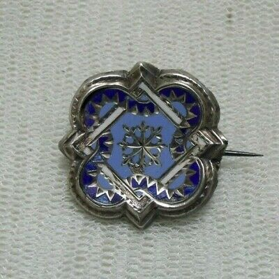 Vintage Antique Silver Tested Blue & White Enamel Ornate Design Brooch Lace Pin