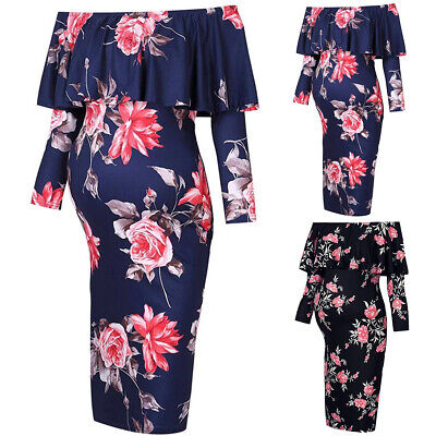 Women Off Shoulder Floral Maternity Dress Ruffles Pregnancy Stretch Photography