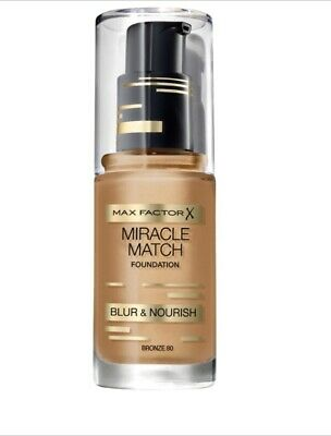 Max Factor Miracle Match Blur & Nourish Foundation 30ml - Bronze 80 New £3.50