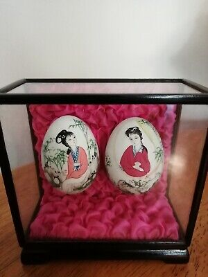 Vintage Oriental Hand Painted Eggs in display case