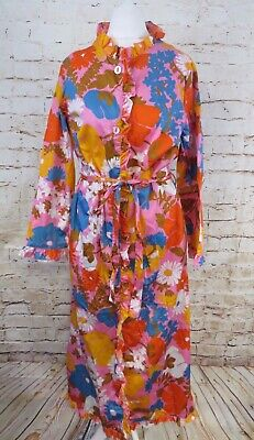 Vintage St Michael Bright Cotton Psychedelic Floral Housecoat Robe Dressing Gown
