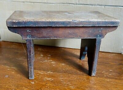 Rare Small  Antique Victorian Childs Stool Apprentice Piece Cracket Mahogany