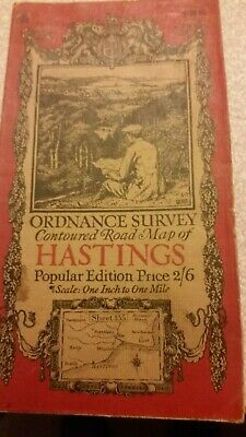 Old Vintage 1927 OS Ordnance Survey One-Inch Popular Edition Map 135 Hastings