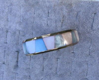Vintage Beautiful Art Deco Gold Bohemian Egyptian Revival Pearl  Inlay Bangle