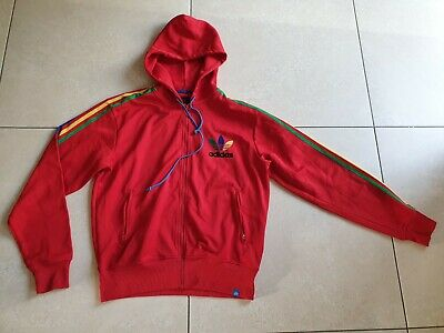 Mens Red Adidas Sport Tracksuit Hooded Zip Jacket Size L