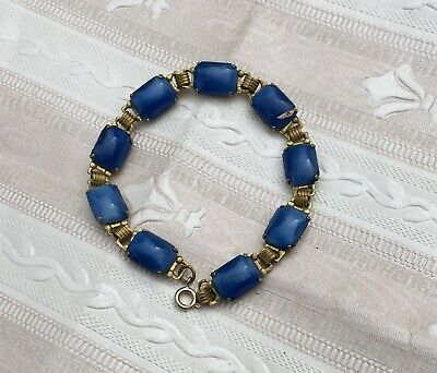 Antique Gold Bohemian Egyptian Revival Blue Panel Scarab Style Bracelet Bangle