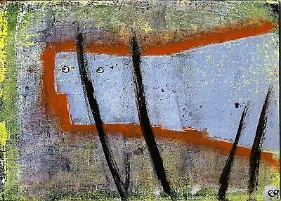 his peeping place e9Art ACEO Outsider Folk Art Brut Painting Abstract Figurative