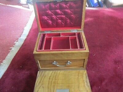 Antique Victorian Drop Front   Burr Walnut Jewellery/Sewing  Box. Buy  Now £75