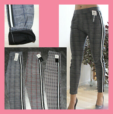 Damen Karo Leggings Business Look Treggings Karo THERMO Streifen Pants Stripes