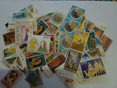 Collection Of 150 Vintage Christmas Postage Stamps 1960-2004 Worldwide
