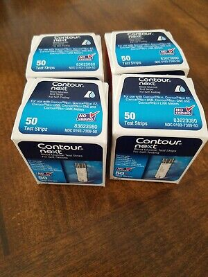Bayer Contour Next Blood Glucose Test Strips 4 boxes 50 count -200 total strips