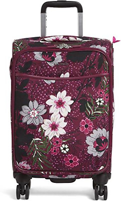 """Vera Bradley Iconic Small 22"""" Spinner Carry On Suitcase Bordeaux Meadow"""