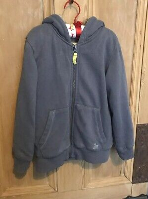 MINI BODEN BORG LINED GREY HOODED ZIP UP HOODIE AGE 4-5 Years