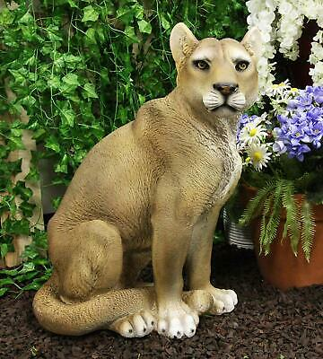 "Ebros Large Lifelike Mountain Lion Cougar Sitting in Repose Statue 20"" Height"
