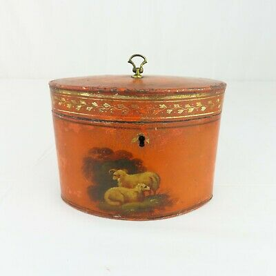 Antique French Toleware Tea Caddie 19th Century Painted Sheep Regency Tole RARE