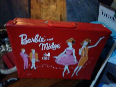 Vintage Barbie Bright Red large Case + Bubblecut +Midge Dolls + Clothes + Extras