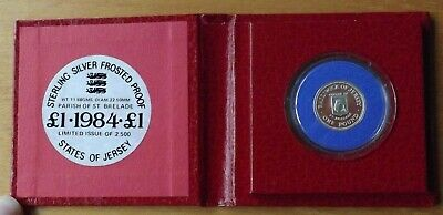 Jersey British Sterling Silver £1.00 Coin 1984 St Brelade Proof Grade Cased Rare