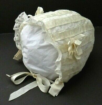 Antique French Valenciennes Lace Silk Ribbon Baby Bonnet Doll Dressing Adorable!