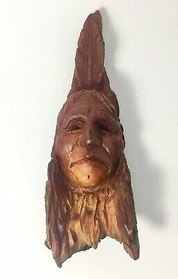 Vtg Carved Wooden Native American Face With Feather Wall Hanging Signed