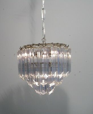 Vintage Mid Century 1960's Chandelier Venini Italian 5 Light 3 Tier Glass Rods