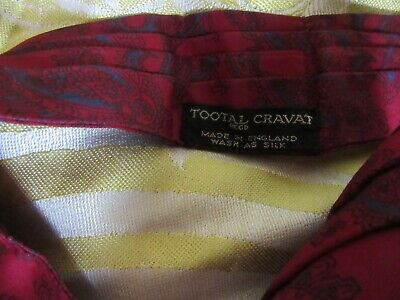 Cravat Tootal Vintage Mens 1960s 1970s MOD Retro, Dark Red with paisley pattern