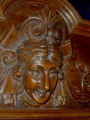 """Victorian French Carved Wood Architectural Pediment Female Face 27""""x 13"""""""