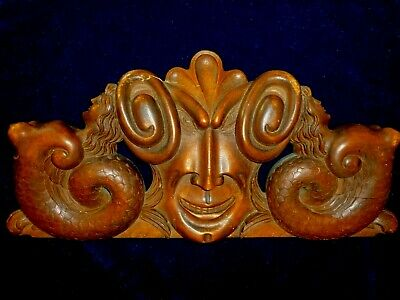 Antique Carved Wood Architectural Pediment Devil Face and two Sirens 46x21cm