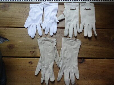 3x PAIRS OF VINTAGE LADIES GLOVES PROP FANCY LACE WHITE NUDE DRESS 1950's