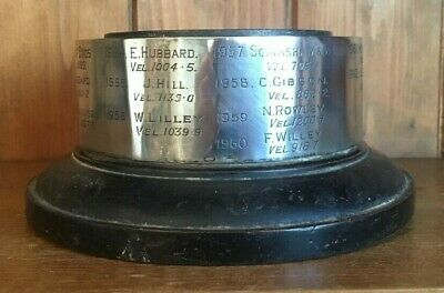 vintage 1945 Large ebonised wooden trophy base, trophy base, trophies