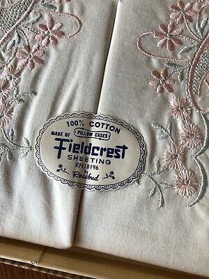Vintage Pillow Cases Blue and Pink Embroidery FIELDCREST