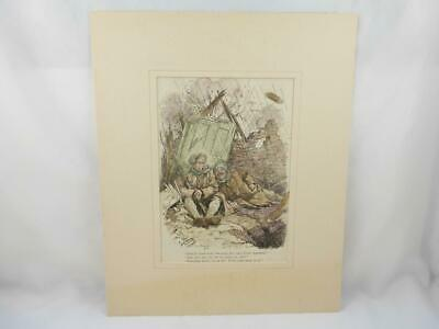 WW1 Punch Magazine Hand Coloured Military Cartoon Mounted Picture / Print 1917 c