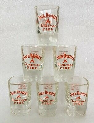 WHISKEY WHISKY PAIR TWO PUB BAR 2 x JACK DANIELS TENNESSEE FIRE SHOT GLASSES
