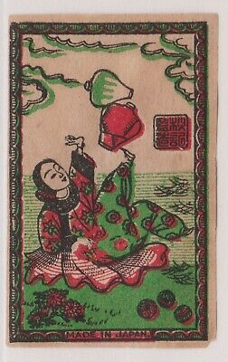 Old Matchbox Label Japan, Woman Juggling Vases With Her Feets V1