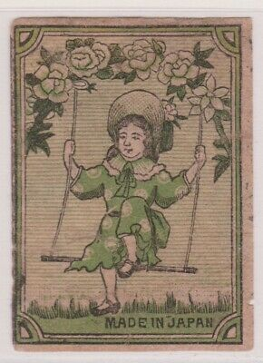 Old Matchbox Label Japan, Girl On A Swing