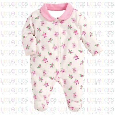 ex UK Chainstore Brand Mouse & Floral Sleepsuit Romper Footie RRP £18 0-9 months