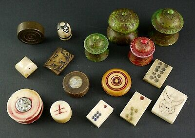 C14)collection Asian game piece China Burma Orient India Chess figure horn wood