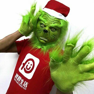 The Grinch Stole Mask W/Christmas+Hat Glove Set Party Prop Xmas Cosplay Costume