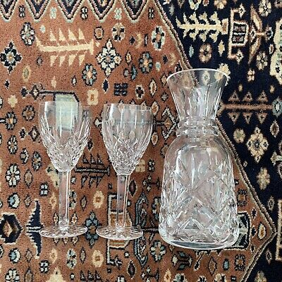 """LOT Waterford Crystal Lismore 2 7"""" Glasses And 9"""" Carafe Decanter"""