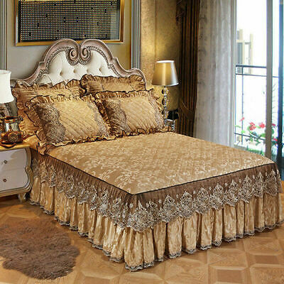 3 Size Bed Skirt Double Layer Lace Dust Ruffle Fitted Sheet Valance Bedspread ZB