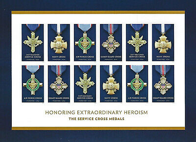 The Service Cross Medals Forever USPS Stamp Sheet 12 Stamps 2016 NAVY Air Force