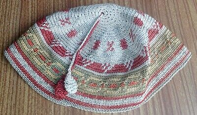 Vintage Antique French Hand Made Embroidered Child's Skull Cap 52cm Circ.