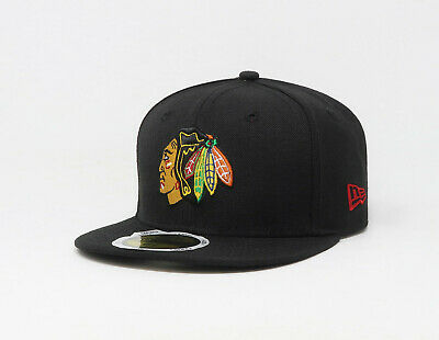 New Era 59Fifty Kids Youth Size NHL Cap Chicago Blackhawks Black Fitted Hat 5950