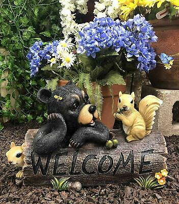 Ebros Large Black Bear with 2 Squirrel Besties by Tree Log Welcome Sign Statue