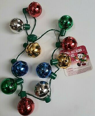 Disney Parks Holiday Jingle Bell Glow Christmas Necklace Light Up Sleigh Bells