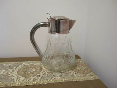 Vintage Unique Grape Design Cut Glass Pitcher With Silver Plate And Ice Insert