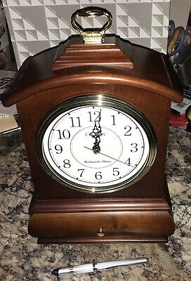 """New CITIZEN Westminster Chime MANTLE CLOCK 11"""" Tall SOLID WOOD S5244-A NOS"""
